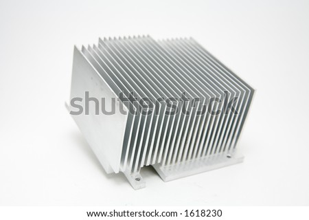 Aluminum computer heat sink - stock photo