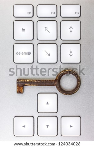 Aluminum computer keyboard with antique key - stock photo