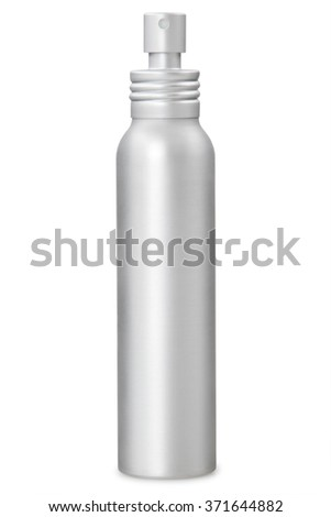 Aluminum container of spray bottle isolated over white background. With clipping path - stock photo