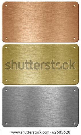 Aluminum, copper and brass metal plates with rivets isolated with clipping path - stock photo