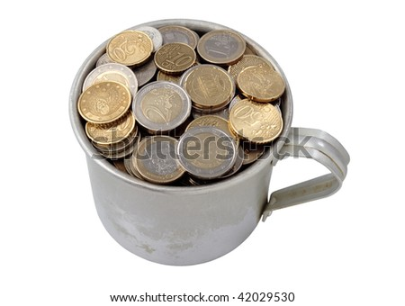 aluminum cup filled with coins, isolated on white background. - stock photo