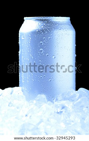 Aluminum Drink Can with water droplets Standing in a bed of ice - black background and cool tones - stock photo