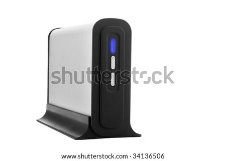 Aluminum external hard disk isolated over white background - stock photo