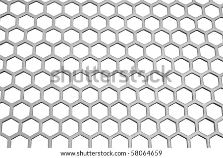 Aluminum honeycomb lattice in the form. Close-up. On a white background.