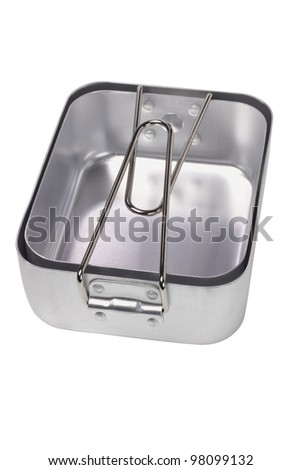 Aluminum Mess tins on White Background