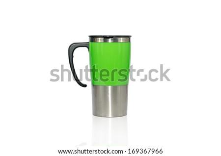Aluminum mug isolated on white - stock photo