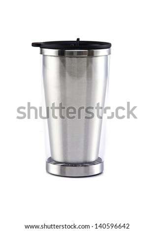 Aluminum mug on the white background