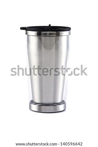 Aluminum mug on the white background - stock photo