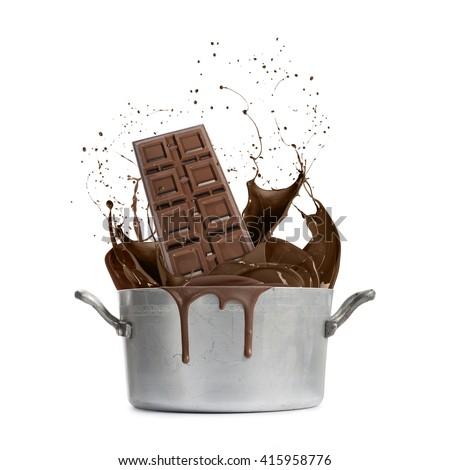 aluminum pan with hot liquid splash chocolate, isolated on white - stock photo