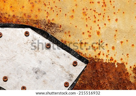aluminum patch on the metal pipe - stock photo