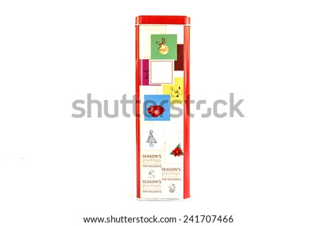 Aluminum red box on white background - stock photo