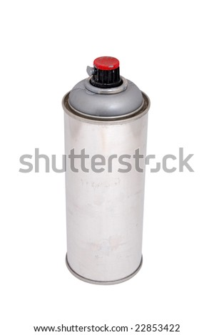 Aluminum spray cans with differently colored nozzles - stock photo