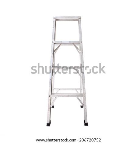 Aluminum step ladder isolated on white background - stock photo