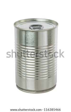 Aluminum tin can on a white background. - stock photo