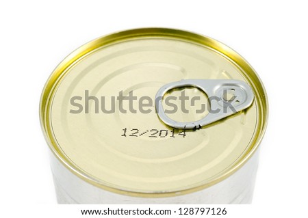 Aluminum tin can on a white background.  Expiration date  Close up - stock photo