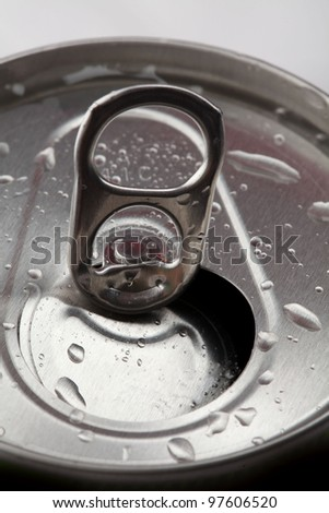 aluminum tin closeup isolated on white background - stock photo