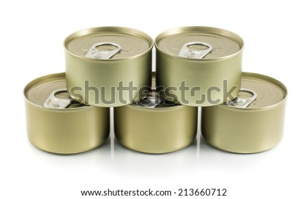Aluminum tin stack can on a white background. - stock photo
