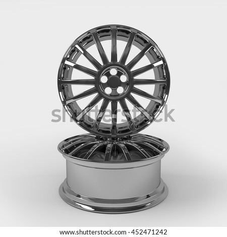 Aluminum wheel image 3D high quality rendering. White picture figured alloy rim for car. Best used for Motor Show promotion or car workshop booklet or flyer design on white background.