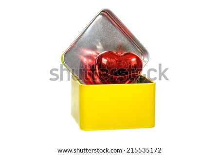 Aluminum yellow box with red heart  isolated on white background - stock photo