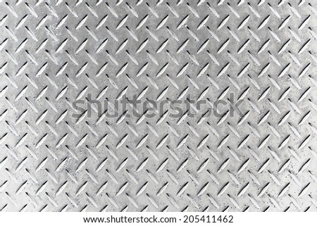 Alumnium list with rhombus shapes and brush plate - stock photo
