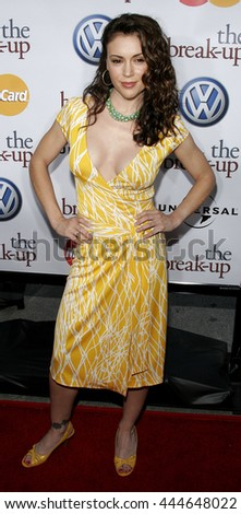 Alyssa Milano at the World premiere of 'The Break-Up' held at the Mann Village Theatre in Westwood,  USA on May 22, 2006. - stock photo