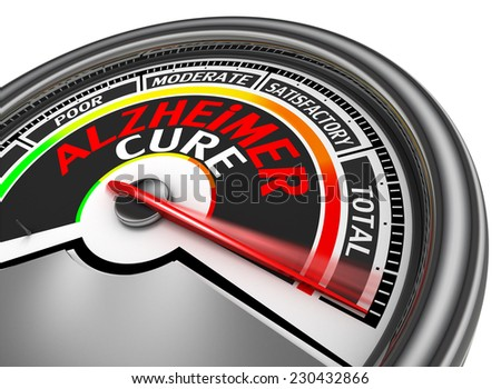 alzheimer cure conceptual meter, isolated on white background - stock photo