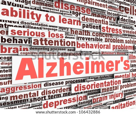 Alzheimer's disease message design. Mental health problems design - stock photo