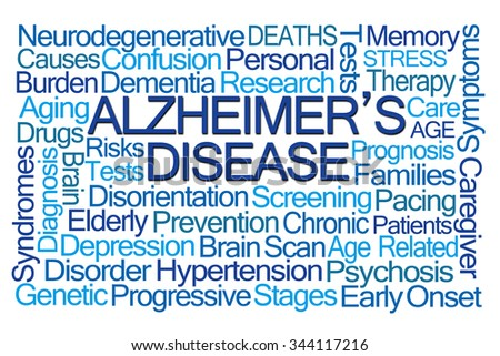 Alzheimer's Disease Word Cloud on White Background - stock photo