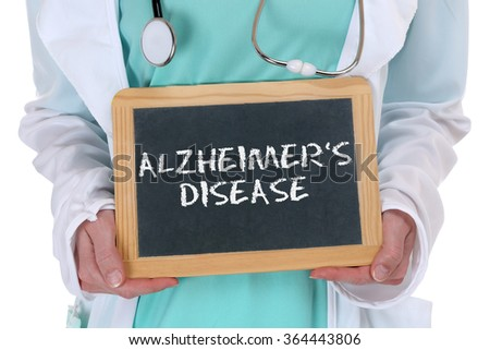 Alzheimers disease Alzheimer Alzheimer's ill illness healthy health doctor with sign - stock photo