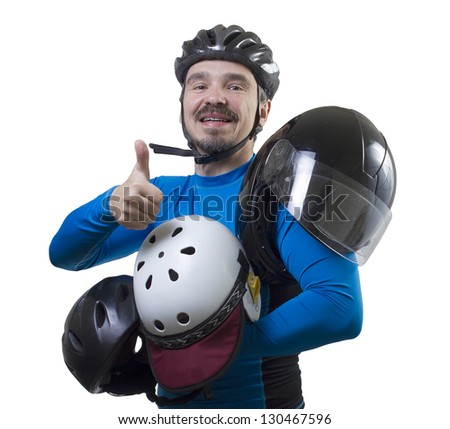 Am I safe? Adult male with assorted helmets. Studio shot isolated on white background. - stock photo