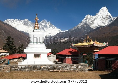 Ama Dablam Lhotse and top of Everest from Tengboche - Way to Everesr base camp - Khumbu valley - Nepal - stock photo