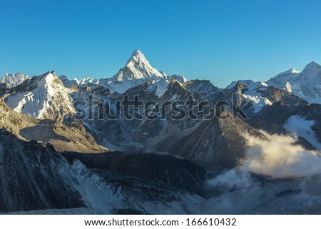 Ama Dablam (6814 m) in the evening. View from Kala Patthar (5600 m) - Everest region, Nepal, Himalayas - stock photo