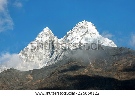 Ama Dablam (6814 m). View from the Orsho village - Everest region, Nepal