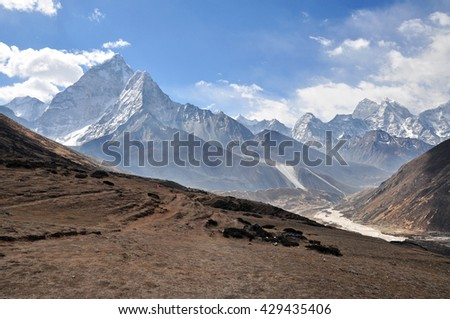 Ama Dablam, Malanphulan, Mera Peak summits and other. Himalayas mountain panorama view from way to Dukla (Everest Base Camp trek) - Sagarmatha National Park, Nepal.