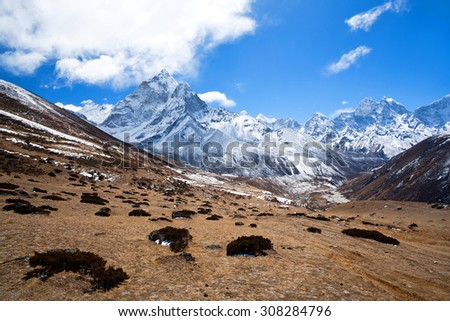 Ama Dablam mount view in Sagarmatha National Park in the Nepal Himalaya - stock photo