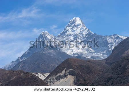 Ama Dablam mountain peak from Pangboche village,Everest region