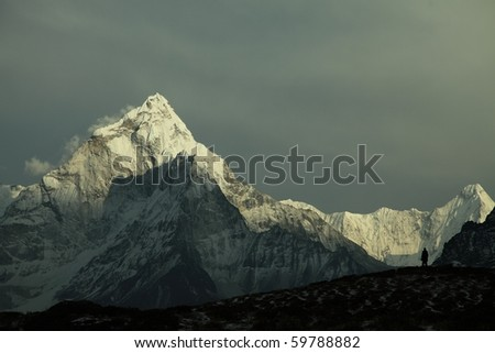 Ama-Dablam West Face - stock photo
