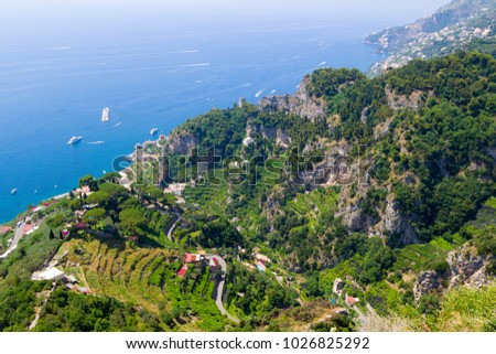 Amalfi Coast in the province of Salerno in the Campania region of south-western Italy. View from top.
