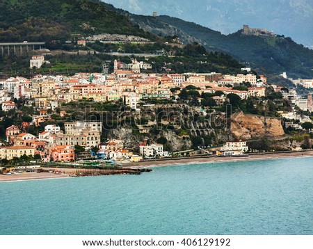 Amalfi Coast, Italy: the small town of Vietri, seen from the sea.