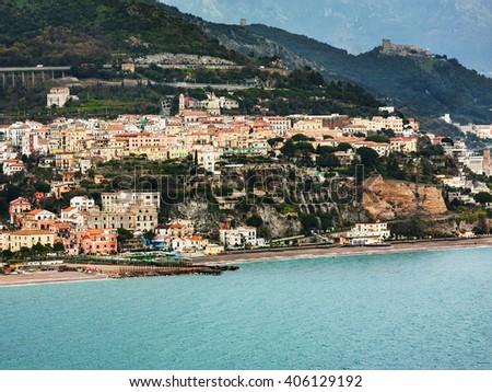 Amalfi Coast, Italy: the small town of Vietri, seen from the sea. - stock photo