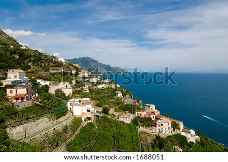 Amalfi coast near the village of Praiano, Italy, a spectacular view of land, terraced fields, sea and sky in a summer sunny day