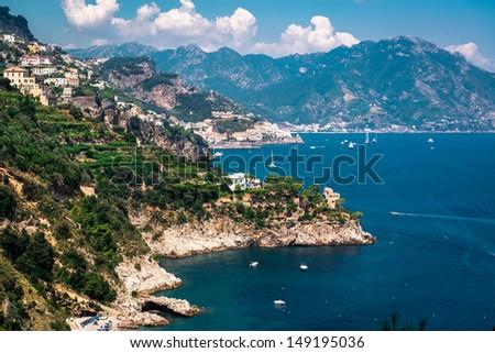 Amalfi Coast. Stunning landscape with hills and Mediterranean sea. Italy - stock photo