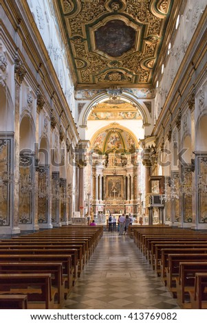 AMALFI, ITALY - APRIL 23, 2016 :Cathedral of St Andrea in Amalfi