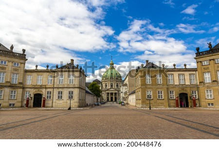 Amalienborg Palace and Marmorkirken in Copenhagen, Denmark - stock photo
