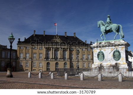 Amalienborg Palace (Danish: Amalienborg Slot) is the winter home of the Danish royal family, and is located in Copenhagen, Denmark.