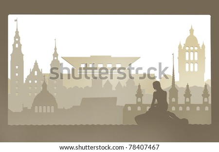 Amalienborg Palace, Stock Exchange, Little Mermaid, Christiansborg Castle, Royal Castle, - stock photo