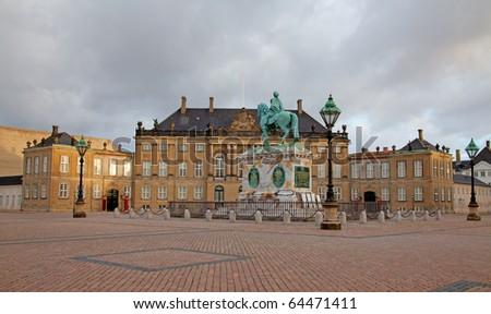 Amalienborg Square located at Copenhagen, Denmark - stock photo