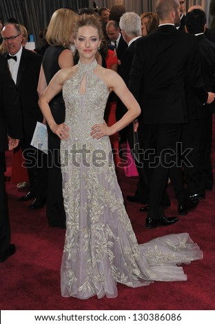 Amanda Seyfried at the 85th Academy Awards at the Dolby Theatre, Hollywood. February 24, 2013  Los Angeles, CA Picture: Paul Smith - stock photo