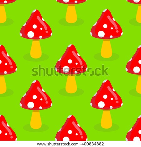 Amanita seamless pattern. Red mushroom with white spots. Toxic poisonous mushroom ornament. - stock photo