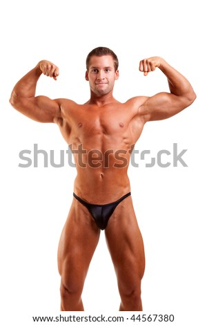 amateur bodybuilder posing over white background - stock photo